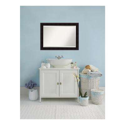 Portico Flat Espresso Wood 42 in. W x 30 in. H Single Contemporary Bathroom Vanity Mirror