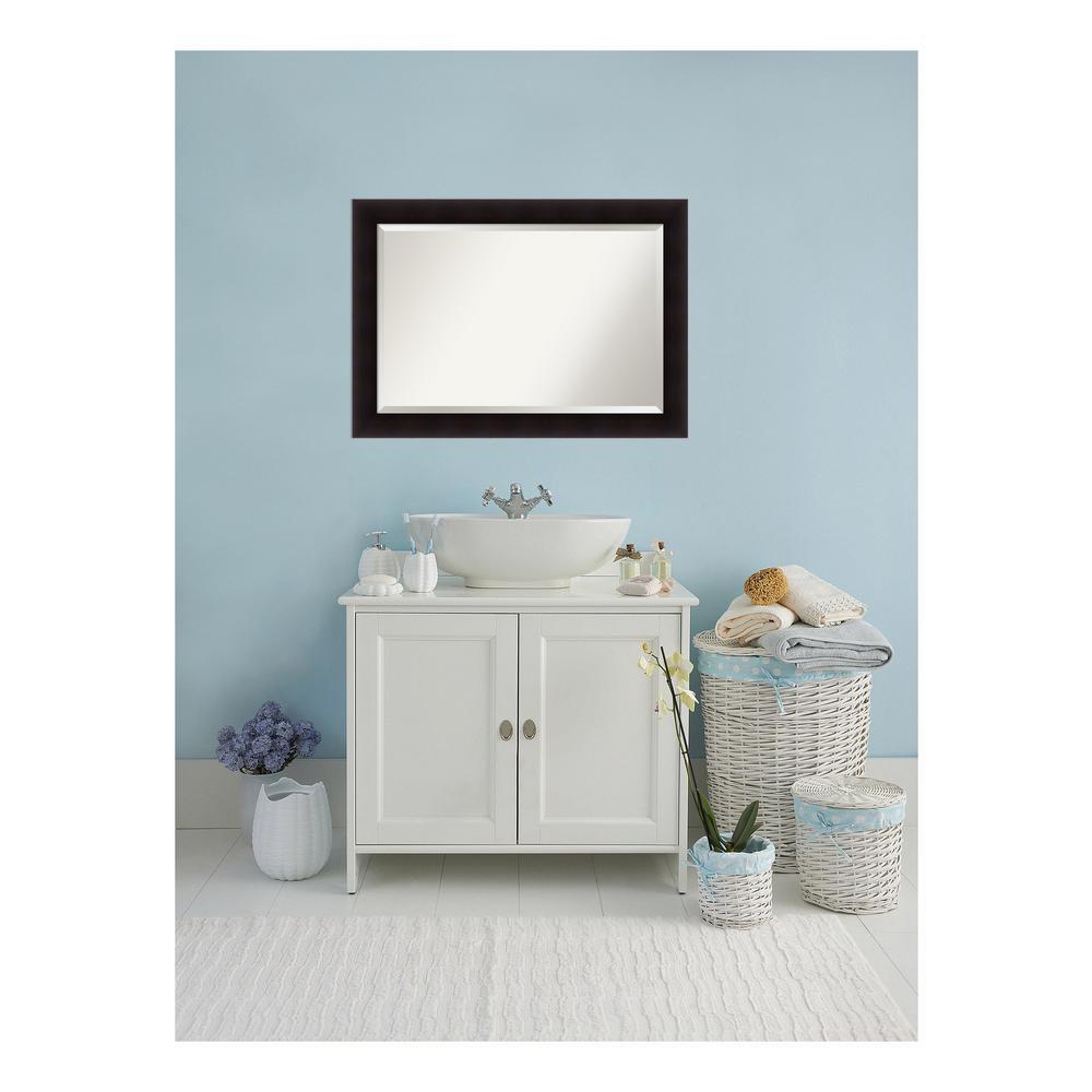 Portico Flat Espresso Wood 42 in. W x 30 in. H Single Contemporary Bathroom Vanity Mirror