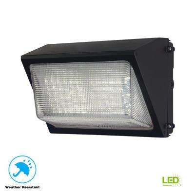 High-Output Bronze Outdoor Integrated LED Wall Pack Light with 6800 Lumen Dusk-to-Dawn and DLC Rating