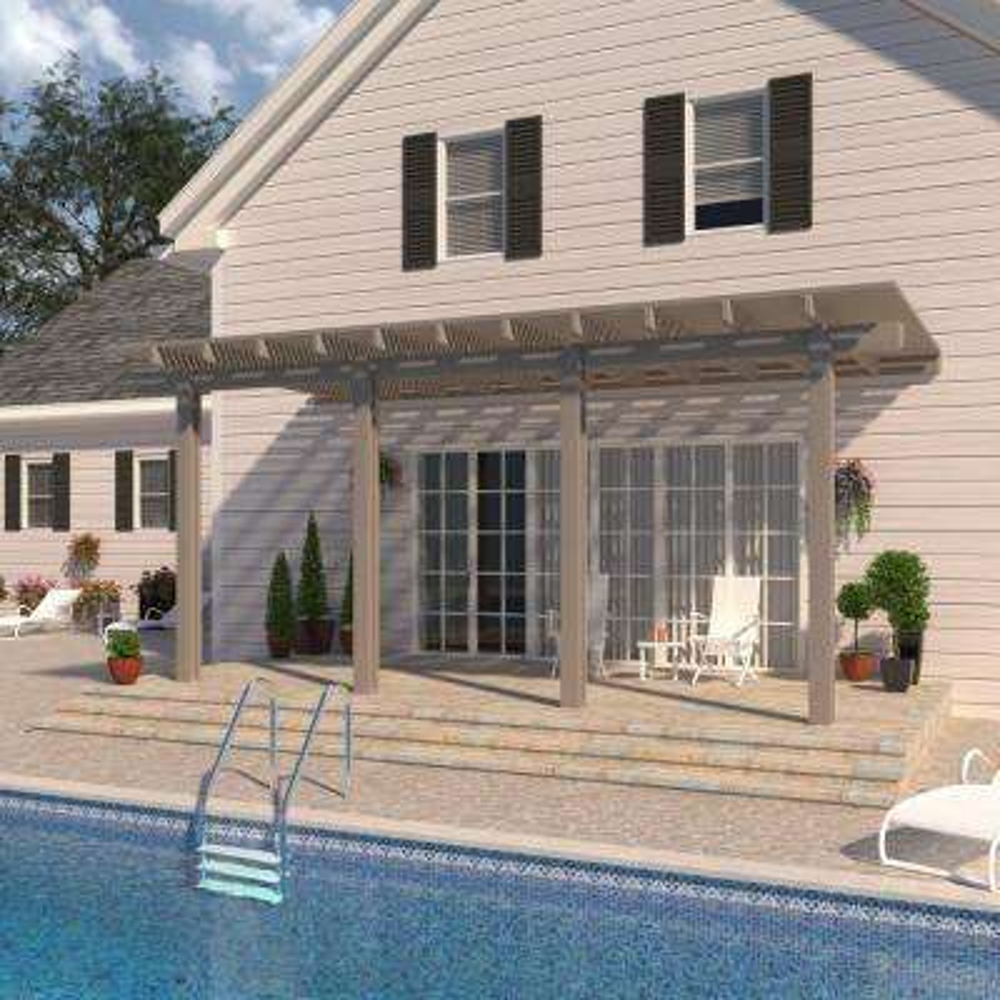 24 ft. x 12 ft. Adobe Aluminum Attached Open Lattice Pergola with 4-Posts  Maximum Roof Load 10 lbs.
