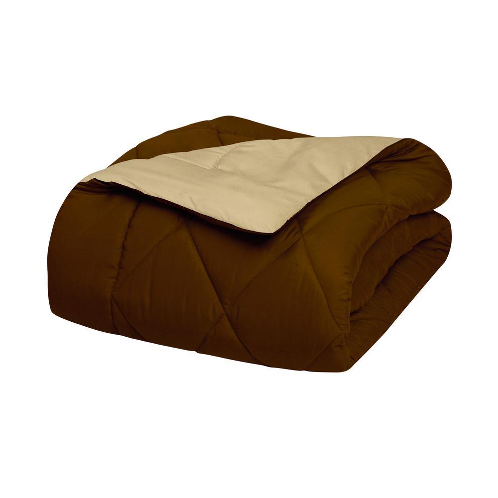 3-Piece Chocolate/Cream Full/Queen Comforter Set