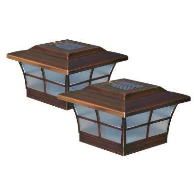 Prestige 6 in. x 6 in. Outdoor Electroplated Copper LED Solar Post Cap (2-Pack)