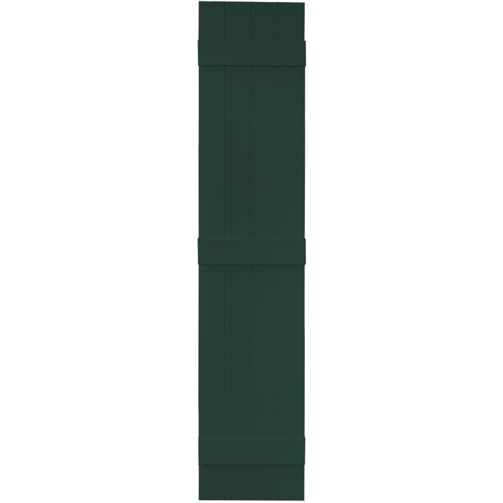 Builders Edge 14 in. x 71 in. Board-N-Batten Shutters Pair, 4 Boards Joined #122 Midnight Green