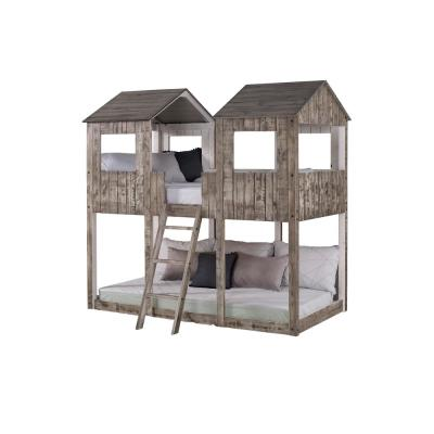 Rustic White Twin-Sized Tower Bunkbed