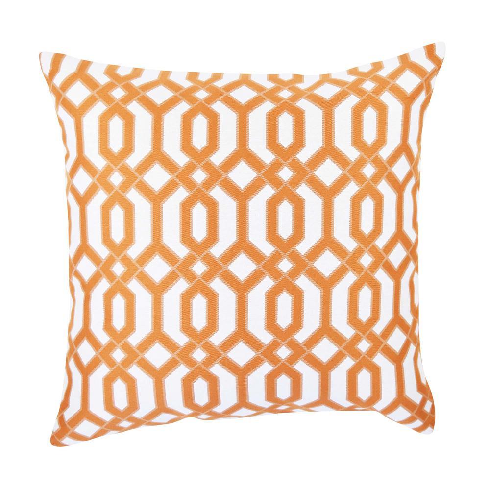 Orange and White Circle Link Inspired Throw Pillow