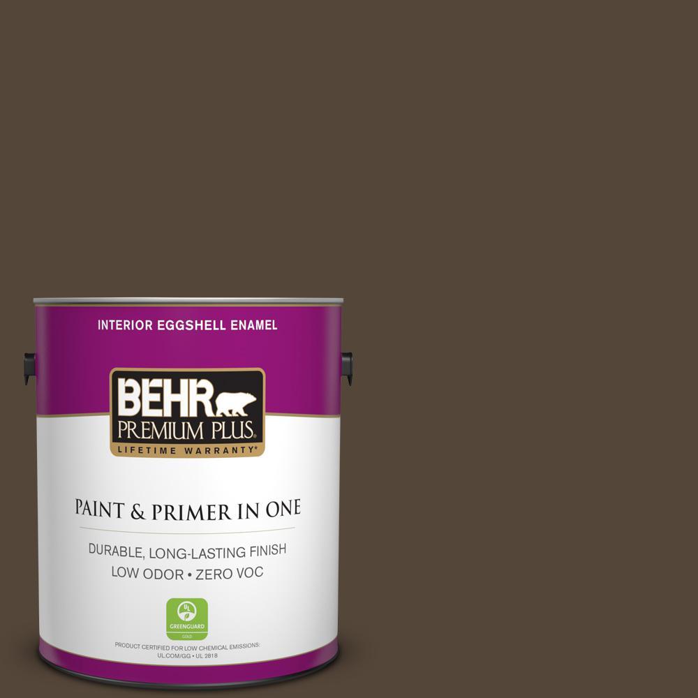 BEHR Premium Plus 1-gal. #780B-7 Bison Brown Zero VOC Eggshell Enamel Interior Paint