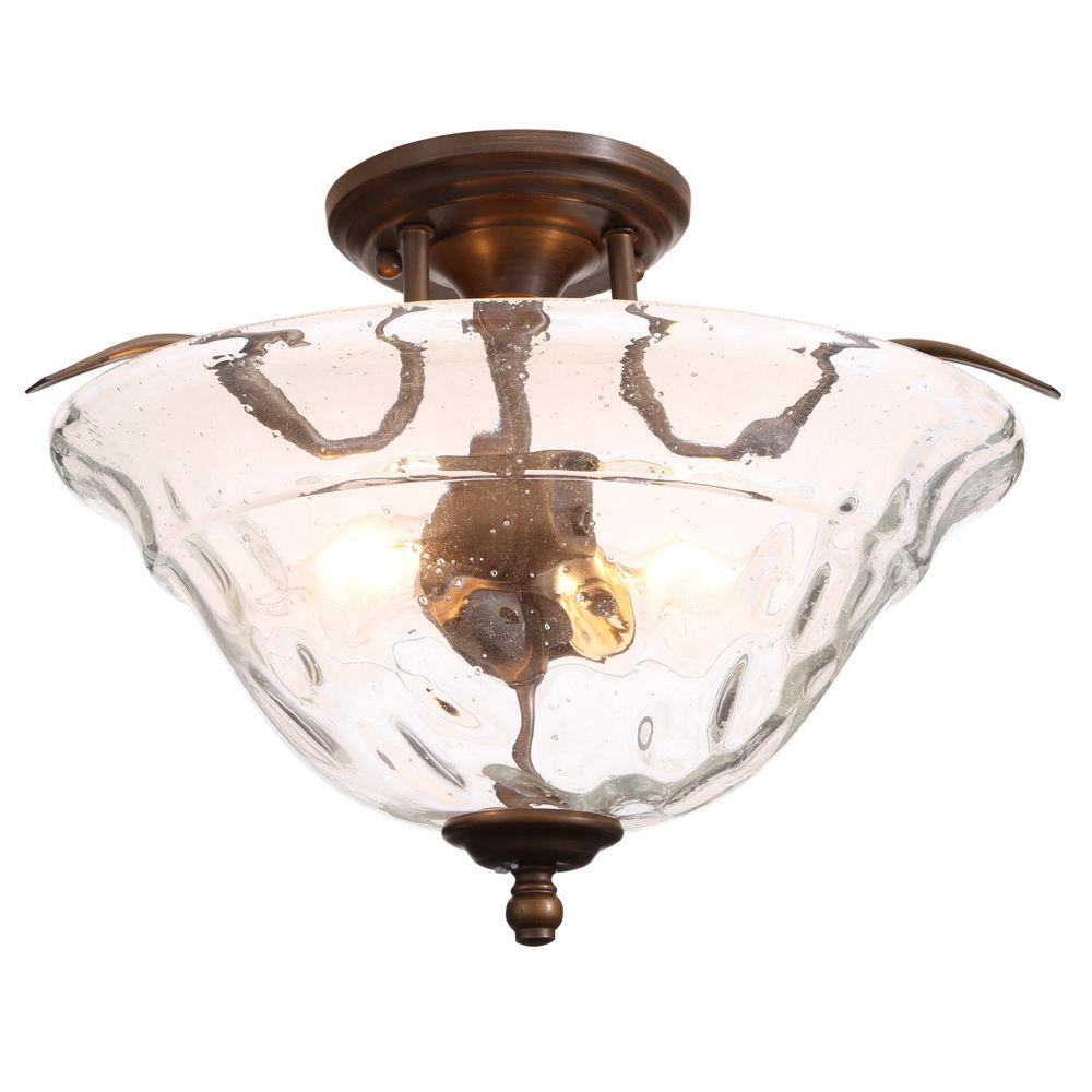 Excellent Hampton Bay Grace 2 Light Rubbed Bronze Semi Flush Mount Light Home Interior And Landscaping Palasignezvosmurscom