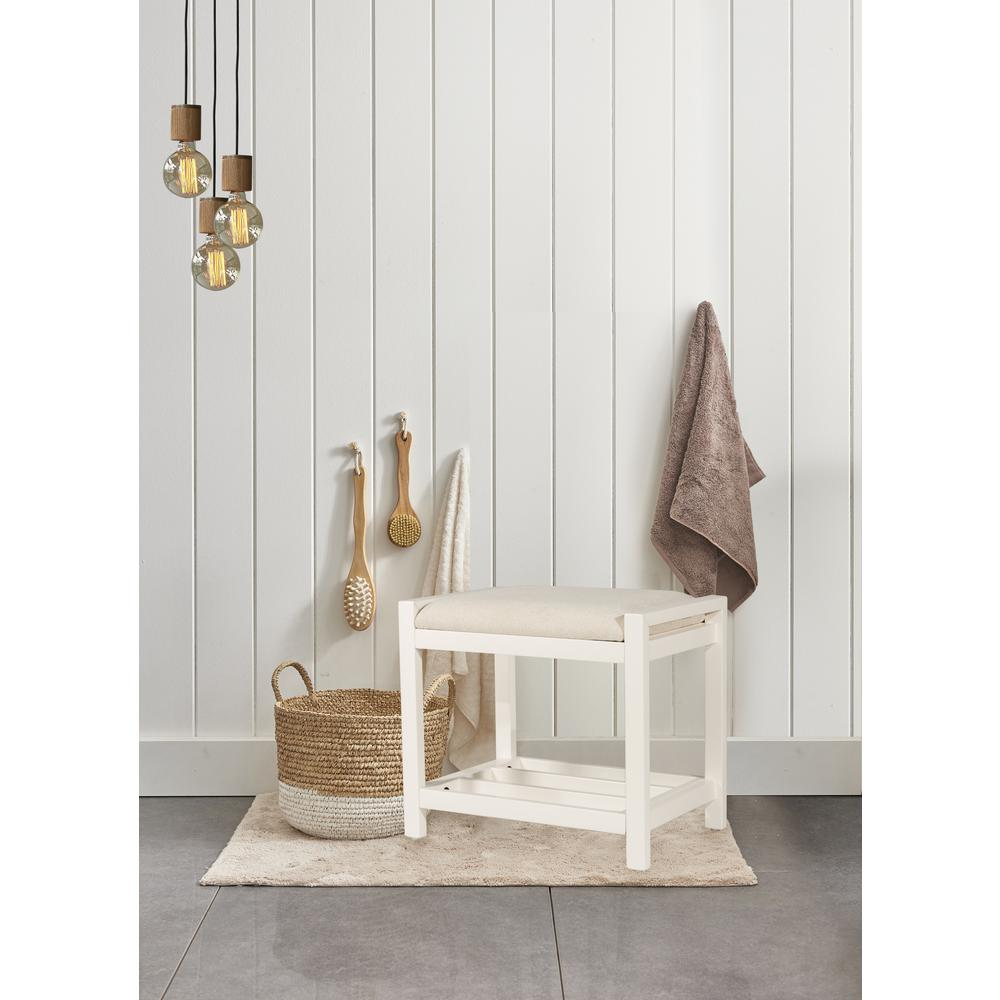 Hillsdale Furniture Amelia White Wood Vanity Stool