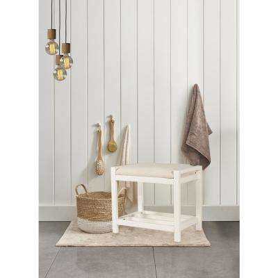 Amelia White Wood Vanity Stool