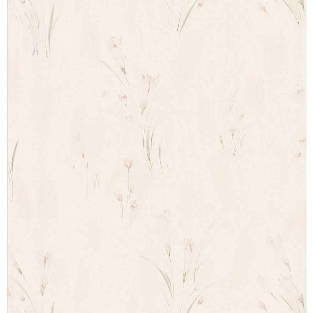 Brewster Bath Bath Bath III Beige Crocus Floral Wallpaper Sample