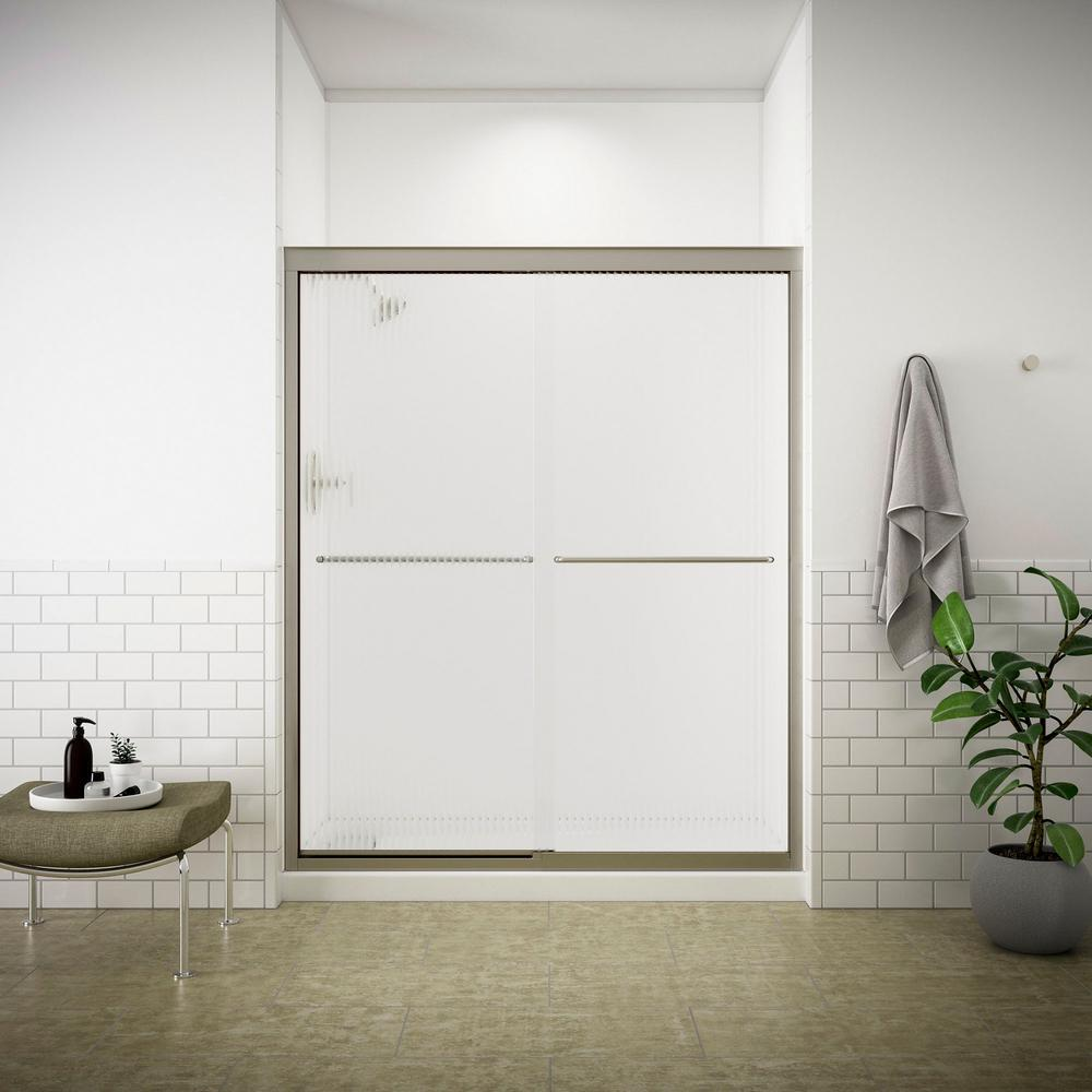 Fluence 59-5/8 in. x 70-5/16 in. Semi-Frameless Sliding Shower Door in