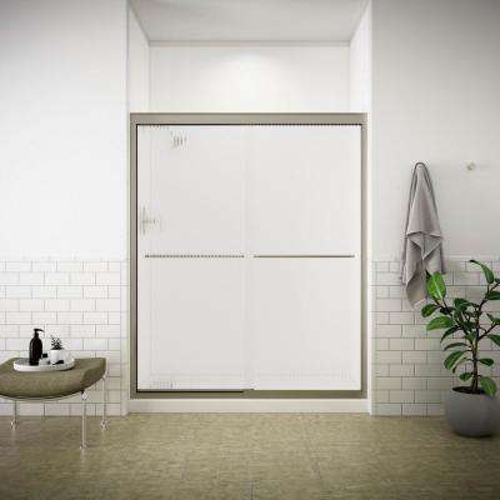 Fluence 59-5/8 in. x 70-5/16 in. Semi-Frameless Sliding Shower Door in Matte Nickel with Handle