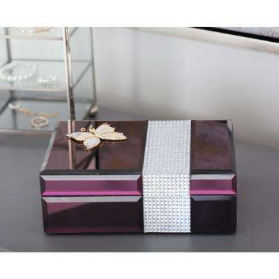 Jewelry Box with Gold Dragonfly Sculpture in Maroon