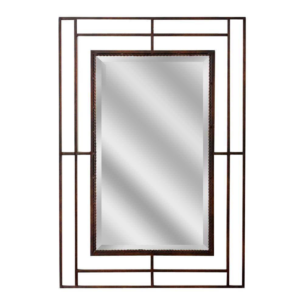 Deco Mirror 38 in. x 26 in. Modern Classic Rectangle Mirror in Bronze