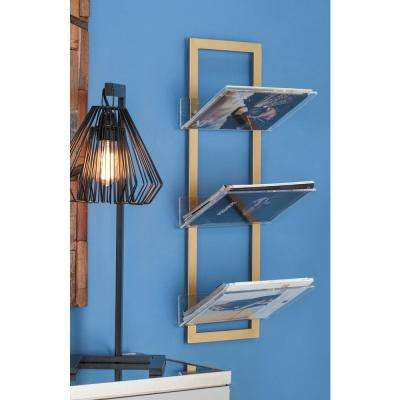 8 in. L x 12 in. W Modern 3-Tier Gold-Finished Iron and Acrylic Shelf