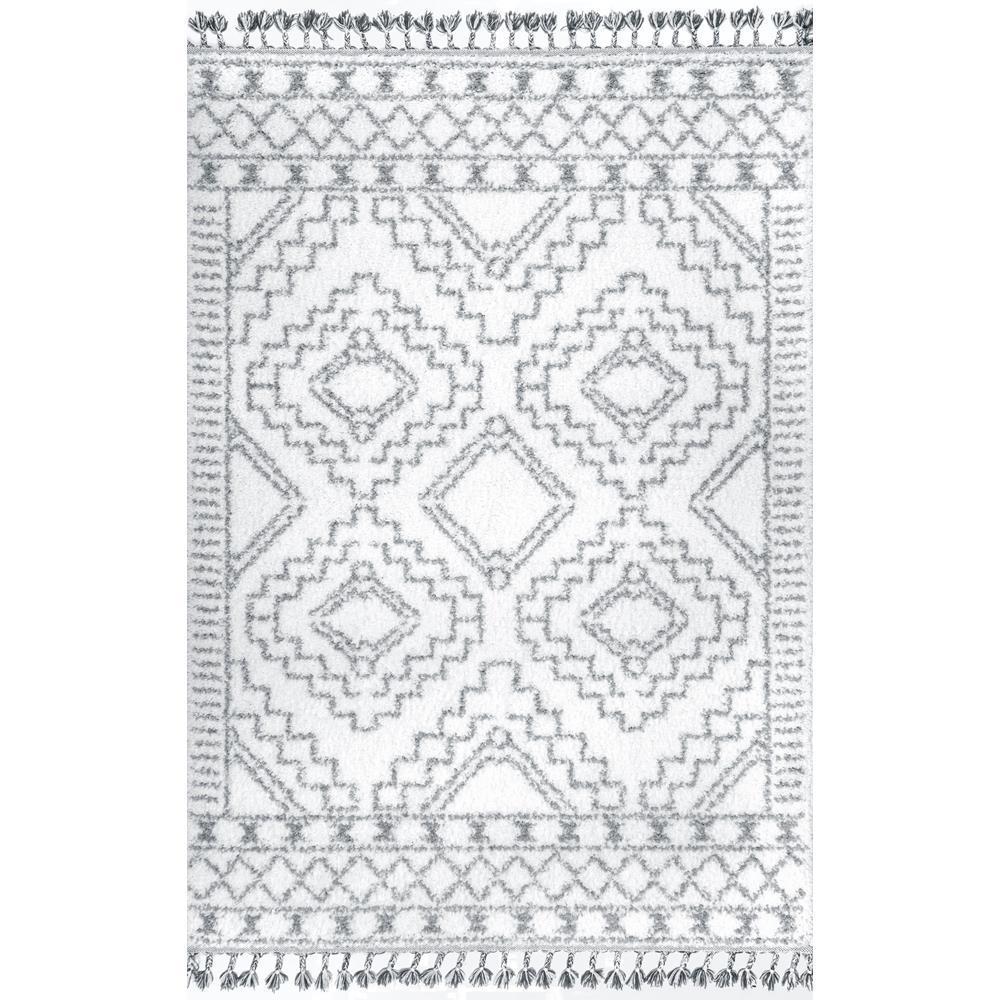Vasiliki Moroccan Tassel Shag White 8 ft. x 10 ft. Oval Rug