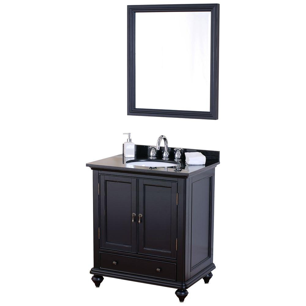 Pegasus Lancaster 30 in. Birch Vanity Cabinet with Mirror in Brushed Ebony