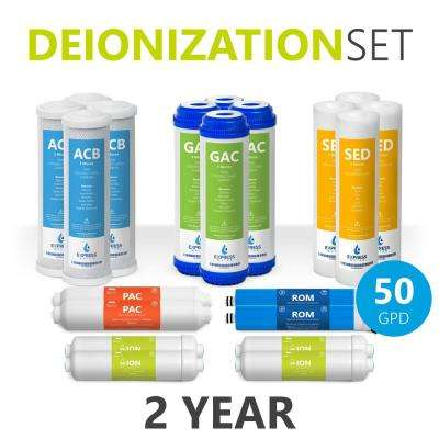 2-Year Deionization Reverse Osmosis System Replacement Filter Set 20 Water Filters with 50 GPD RO Membrane 10 in.