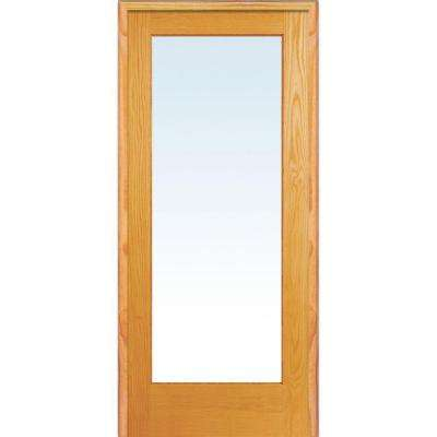 30 in. x 80 in. Right Handed Unfinished Pine Wood Clear Glass Full Lite Single Prehung Interior Door