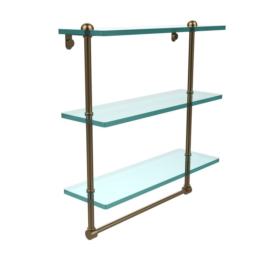 Allied Brass 16 in. L x 18 in. H x 5 in. W 3-Tier Clear Glass ...
