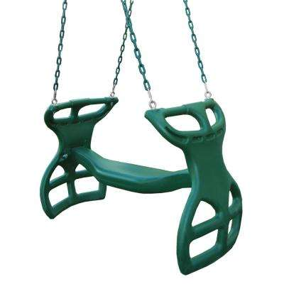 Dual Ride Green Glider Swing with Green Coated Chains