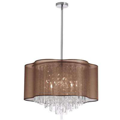 Catherine 8 Light Halogen Polished Chrome Chandelier with Chocolate Organza Shades