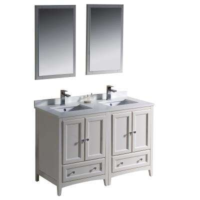 Warwick 48 in. Bathroom Double Vanity in Antique White with Quartz Stone Vanity Top in White, White Basin and Mirrors