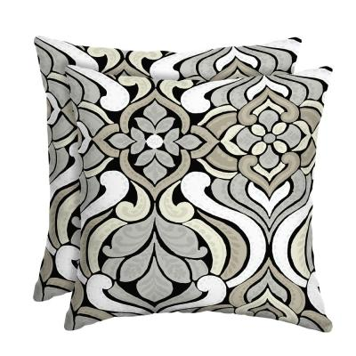 DriWeave Black and Gray Tile Square Outdoor Throw Pillow (2-Pack)