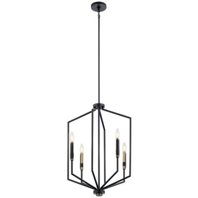 Armand 4-Light Black with Bronze Accent Foyer Pendant