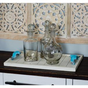 White Decorative Trays with Blue Accents (Set of 2) by