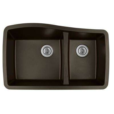 Undermount Quartz Composite 33 in. 60/40 Double Bowl Kitchen Sink in Brown