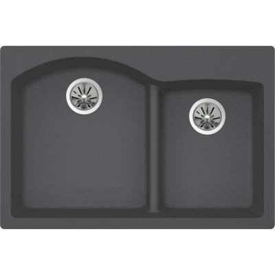Quartz Luxe Drop-in Composite 33 in. Rounded Offset Double Bowl Kitchen Sink in Charcoal
