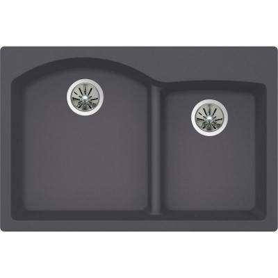 Premium Quartz Drop-in Composite 33 in. Double Bowl Kitchen Sink in Charcoal
