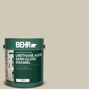 Behr 1 Gal N330 3 Unmarked Trail Urethane Alkyd Semi Gloss Enamel Interior Exterior Paint 390001 The Home Depot
