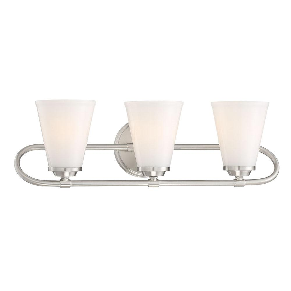 Cordelia Lighting Bell Style 5 in. 3-Light Brushed Nickel Vanity Light with Opal Glass Shades