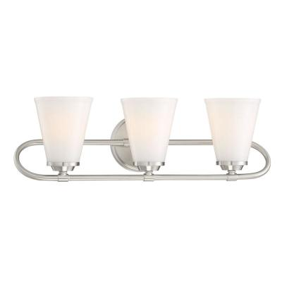 Bell Style 22 in. 3-Light Brushed Nickel Vanity Light with Opal Glass Shades
