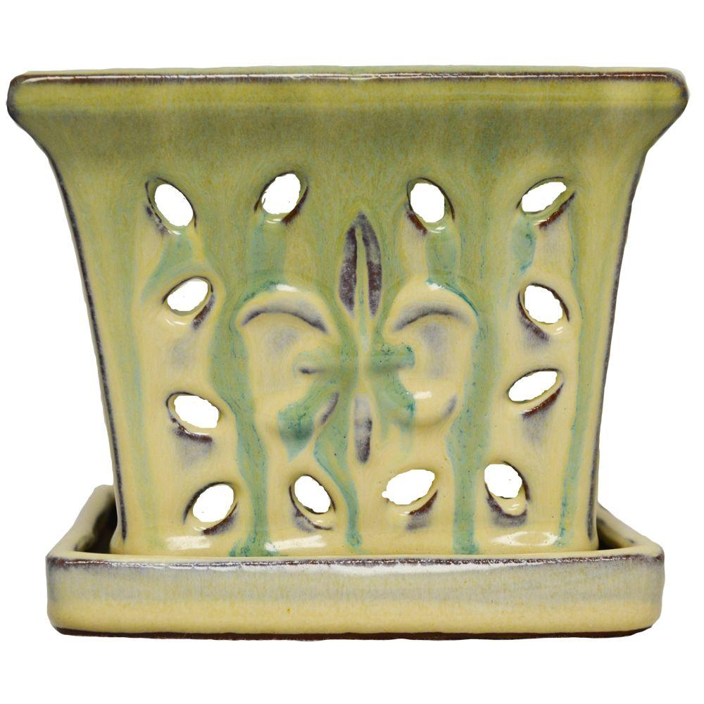 5 in. Square Green Glazed Ceramic Orchid Pot