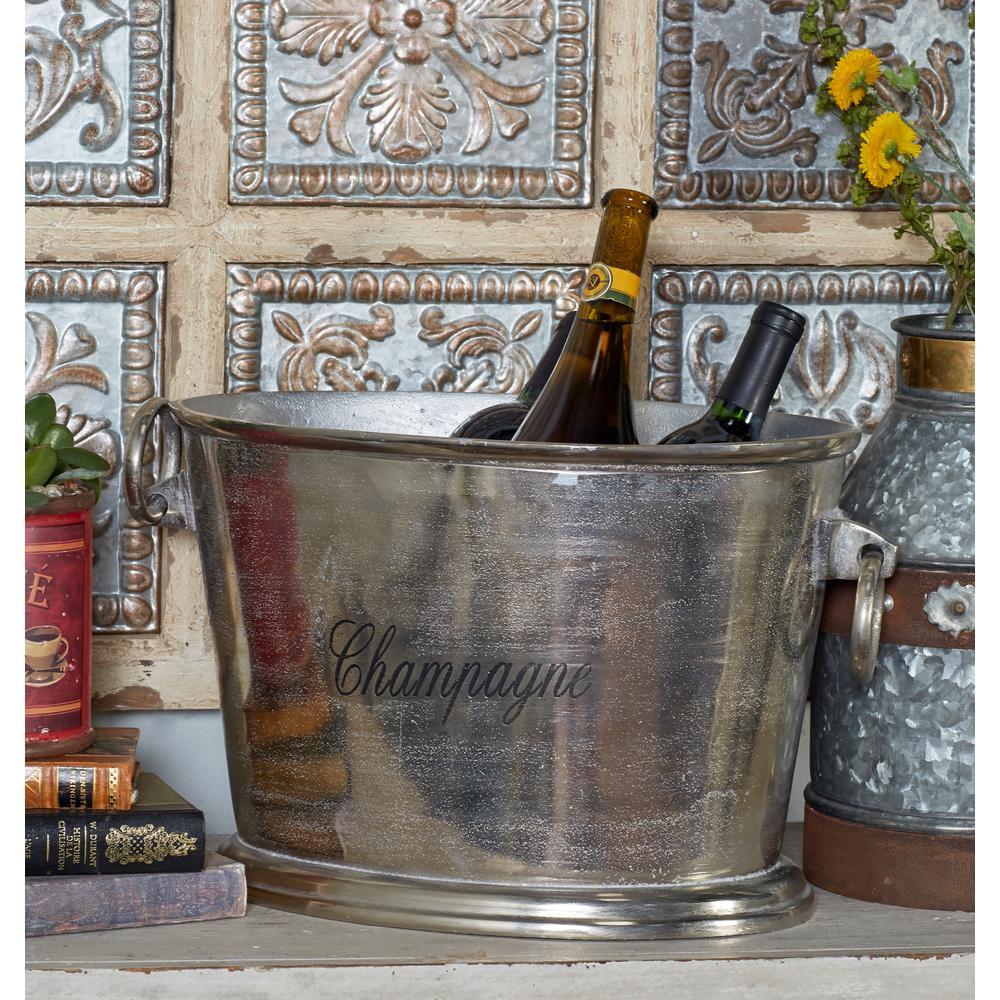 Silver Aluminum Bucket Wine Cooler with Loop Swing Handles
