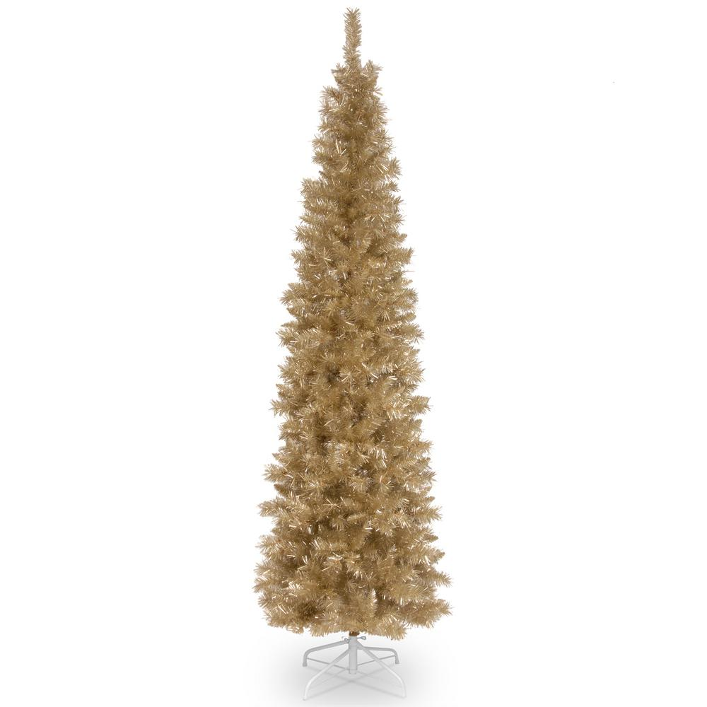 National Tree Company 7 Ft Champagne Gold Tinsel Artificial Christmas