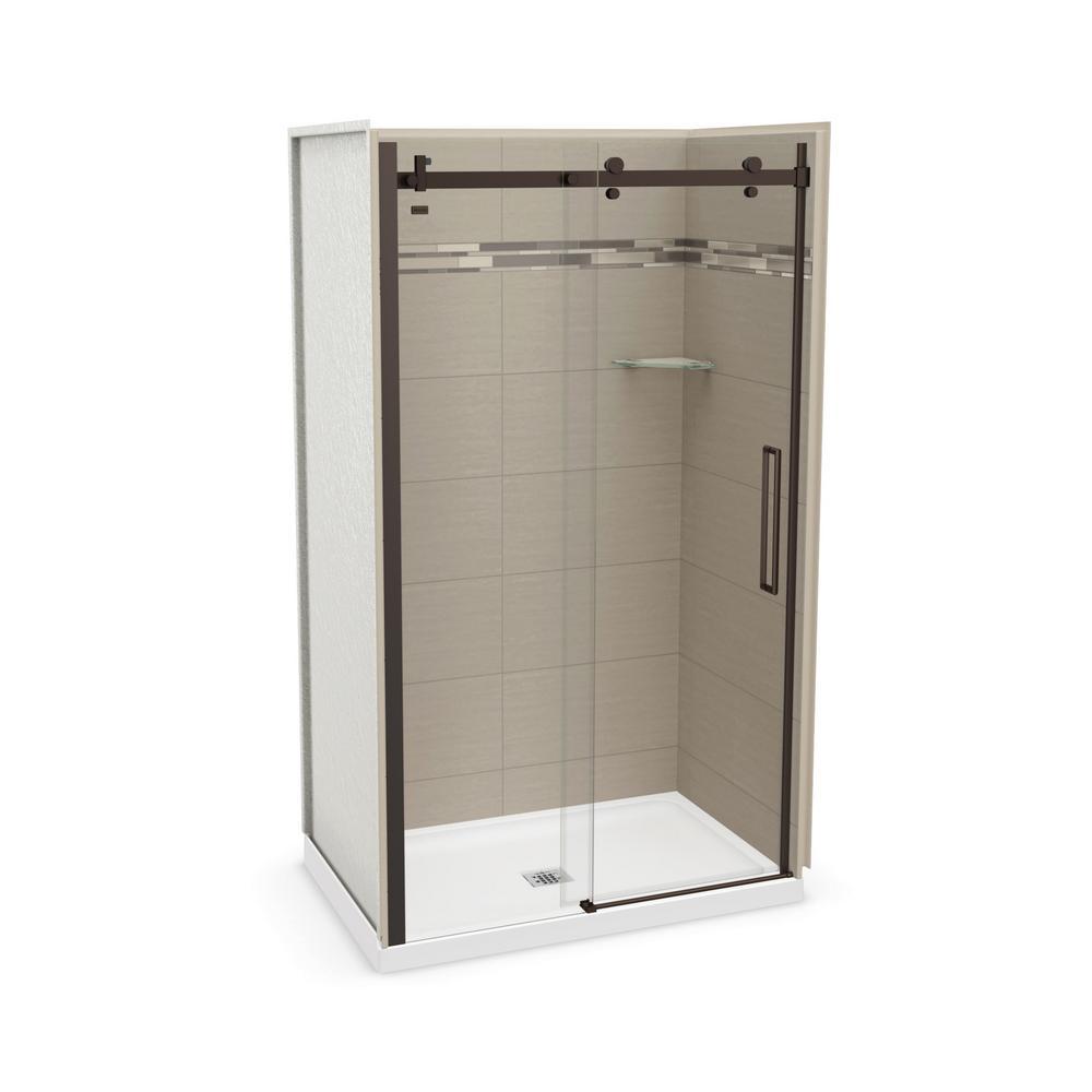 Utile Origin 32 in. x 48 in. x 83.5 in. Center Drain Alcove Shower Kit in Greige with Dark Bronze Shower Door