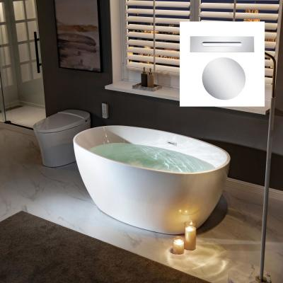 Garfield 55 in Acrylic Freestanding Double Ended Soaking Bathtub with Drain and Overflow Included in White