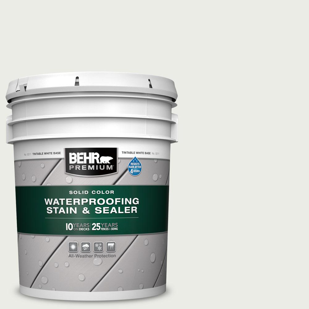 BEHR PREMIUM 5 gal. #52 White Solid Color Waterproofing Exterior Wood Stain and Sealer