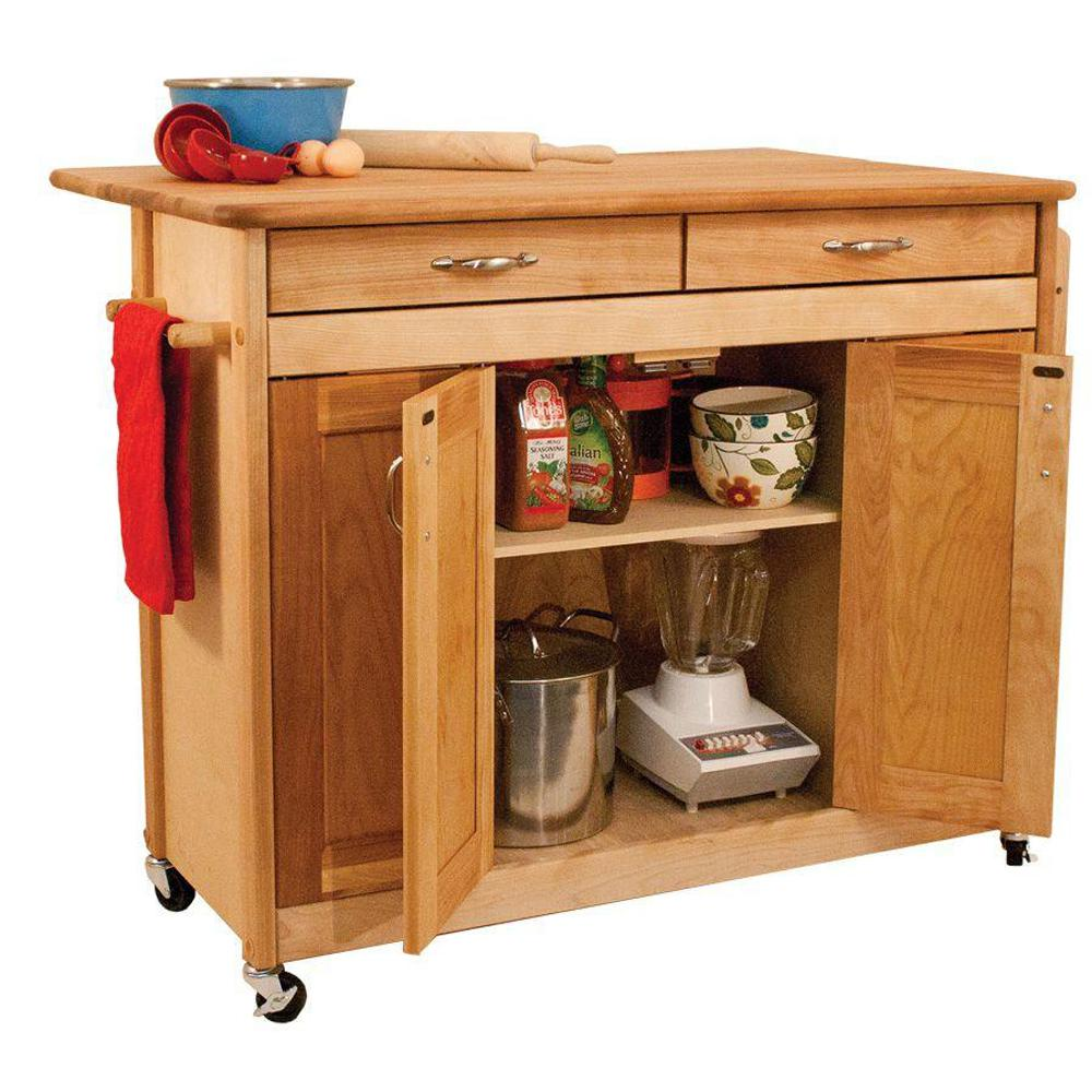 Catskill Craftsmen Natural Kitchen Cart With Butcher Block Top 53228 The Home Depot