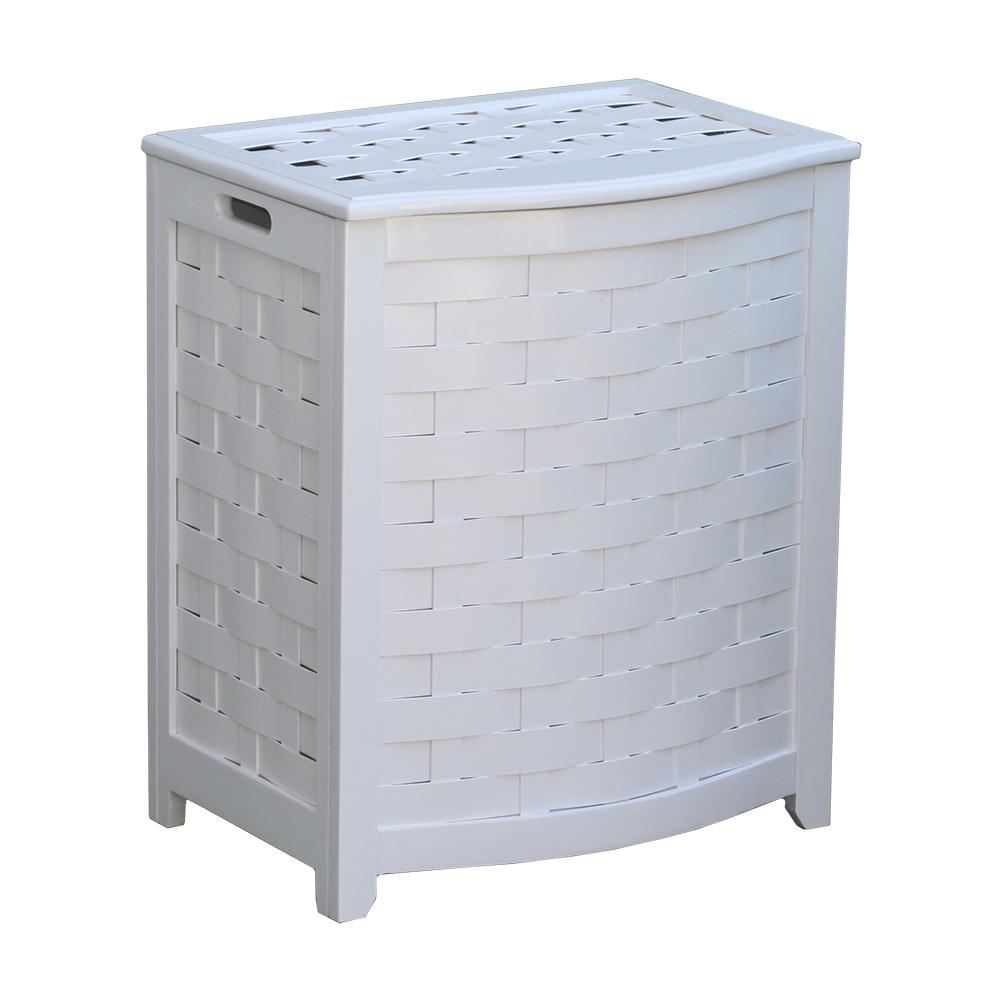 Oceanstar White Bowed Front Veneer Wood Laundry Hamper with Interior Bag