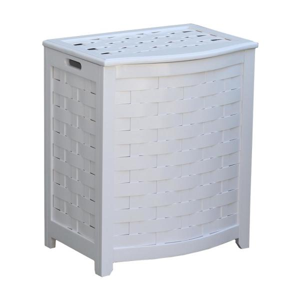 White Bowed Front Veneer Wood Laundry Hamper with Interior Bag