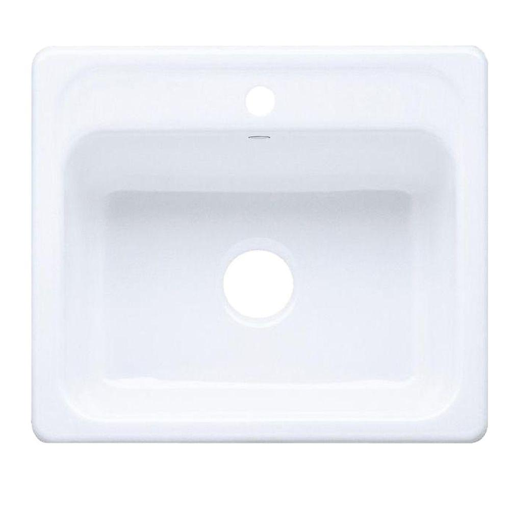 KOHLER Mayfield Drop-In Cast-Iron 25 in. 1-Hole Single Bowl Kitchen Sink in White