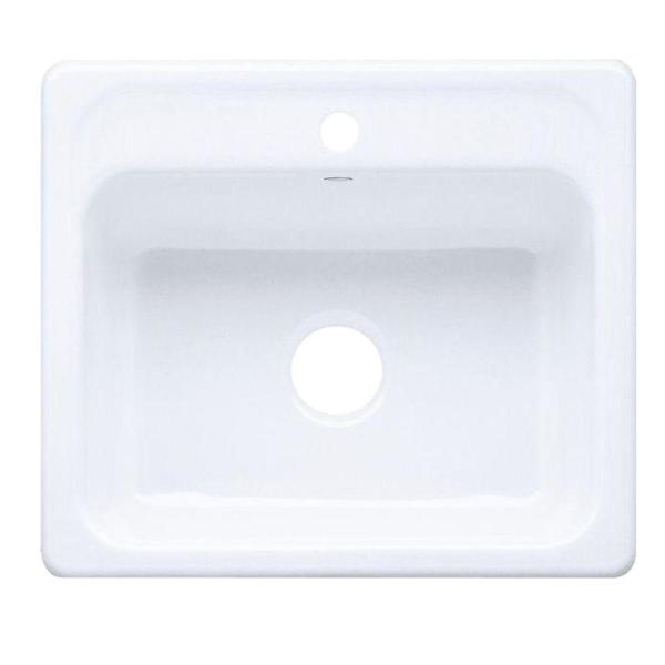 Kohler Mayfield Drop In Cast Iron 25 In 1 Hole Single Bowl Kitchen Sink In White K 5964 1 0 The Home Depot