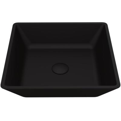 Matte Shell Roma Glass Square Vessel Bathroom Sink in Black