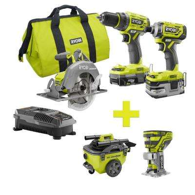 18-Volt ONE+ Lithium-Ion Cordless Brushless Combo Kit (3-Tool) w/Bonus Trim Router and 6 Gal. Wet/Dry Vacuum
