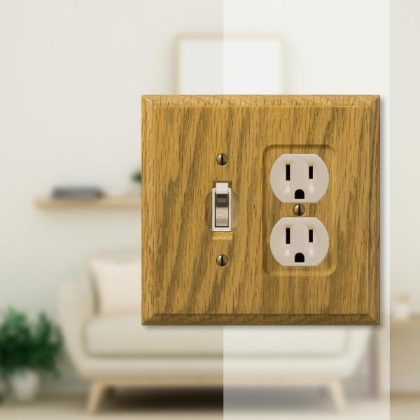 Amerelle Carson 2 Gang 1 Toggle And 1 Duplex Wood Wall Plate Light Oak 4025td The Home Depot